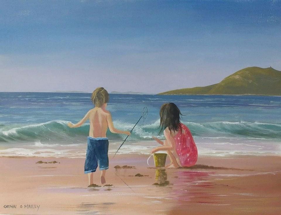 Cathal O Malley - kids on cleggan beach