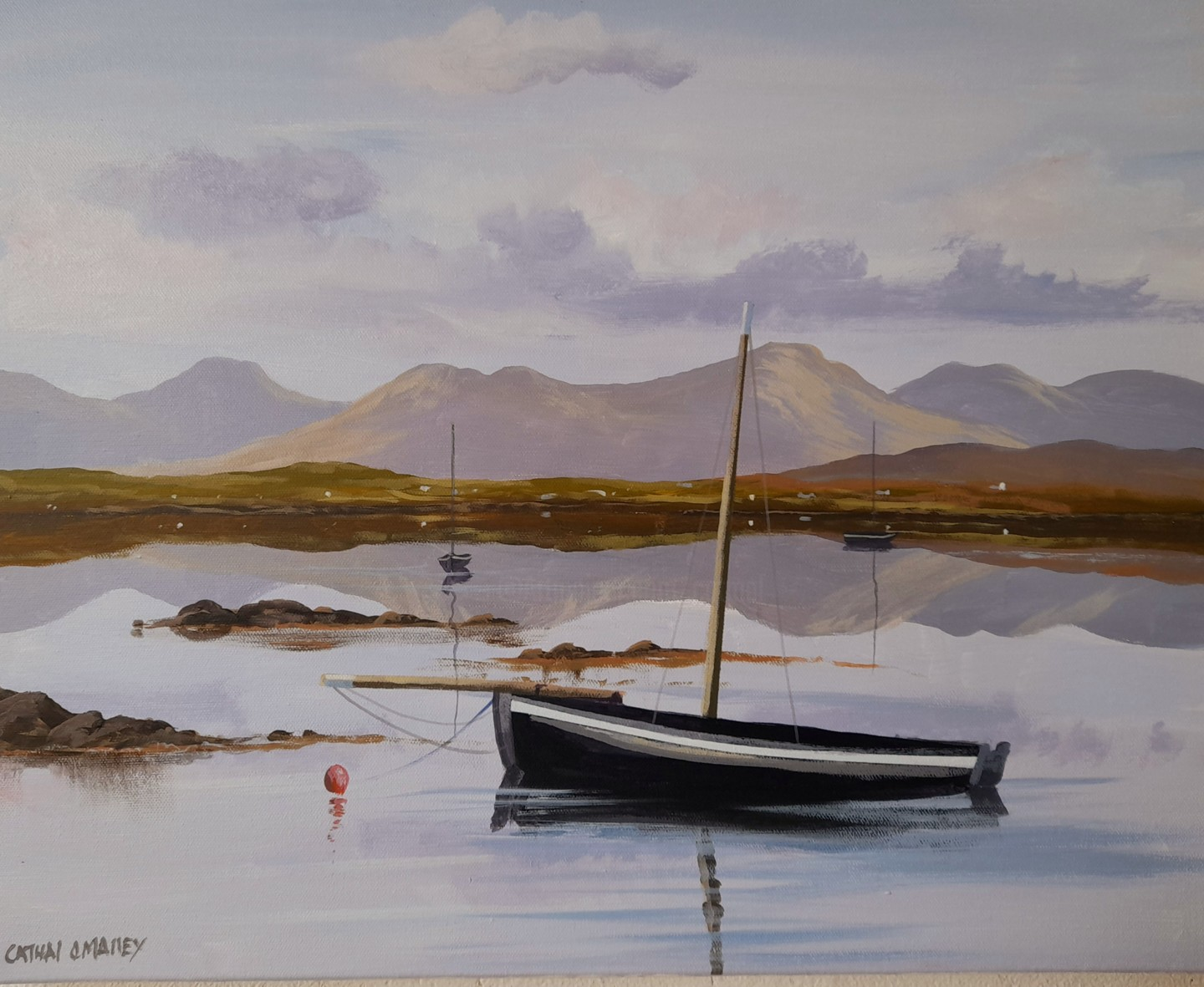 Cathal O Malley - Roundstone reflections of boats