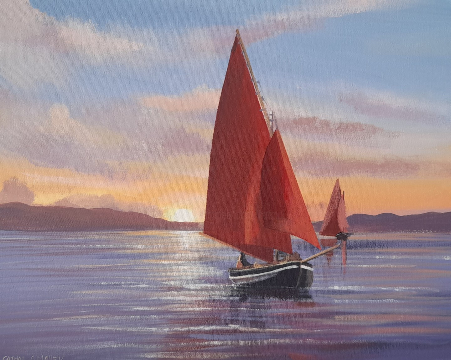 Cathal O Malley - Sunset  over galway bay