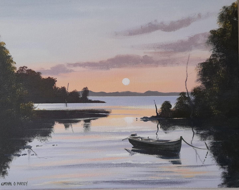 Cathal O Malley - Corrib sunset reflections