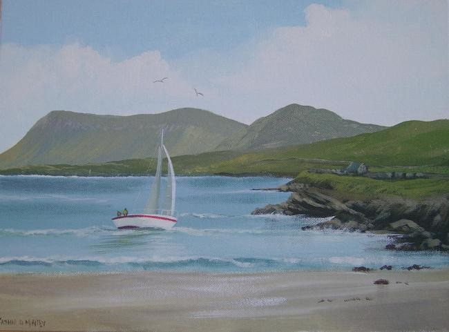 Cathal O Malley - dunmoran boat scene,,co sligo