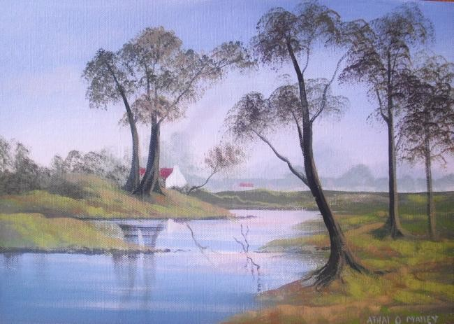 Cathal O Malley - trees by a river