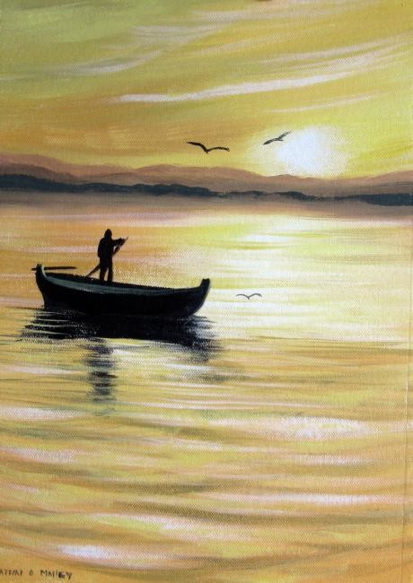 Cathal O Malley - sunset fisherman