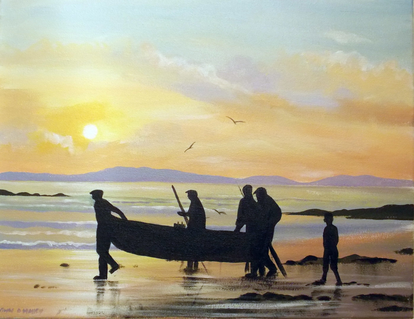 Cathal O Malley - launching a currach