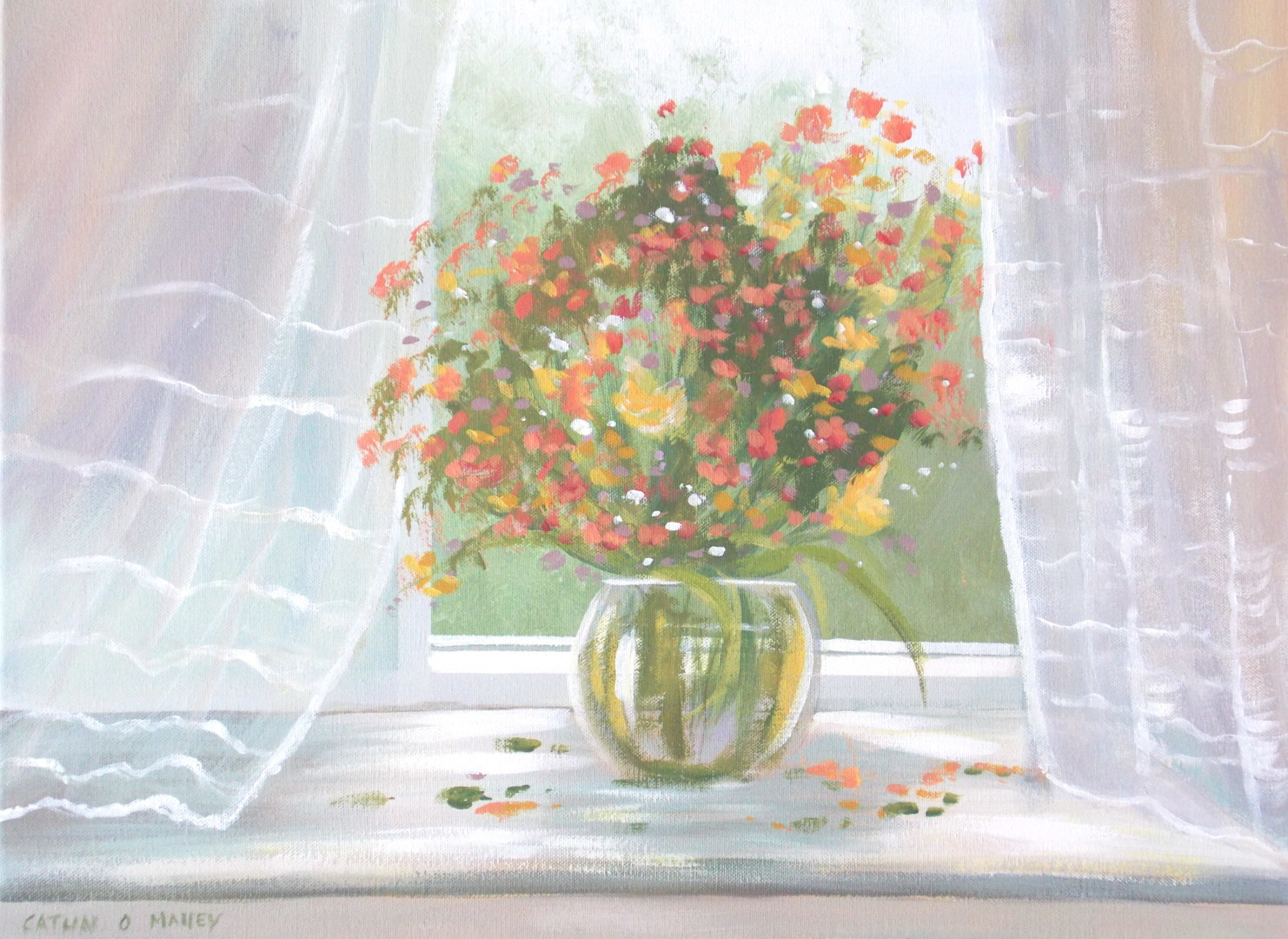 Cathal O Malley - cottage window flowers