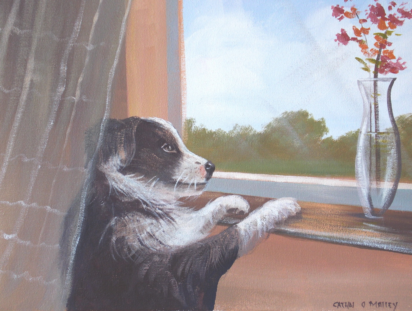Cathal O Malley - puppy by a window