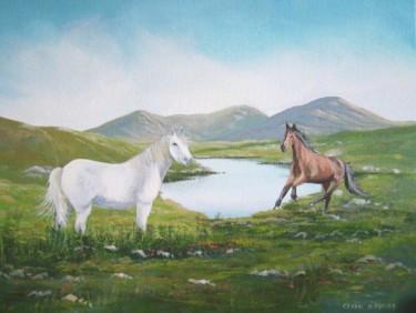 ponies by a lake