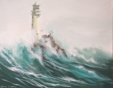 waves  crashing over fastnet lighthouse
