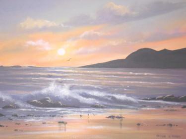 cleggan sunset waves